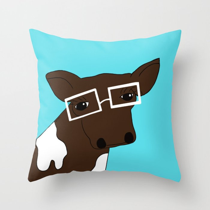 Matilda the Hipster Cow Throw Pillow