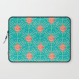 Dainty All Seeing Eye Pattern in Coral Laptop Sleeve