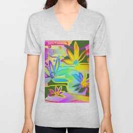 FLORALS IN ABSTRACT GRAPHIC DESIGN Unisex V-Neck
