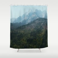 steve rogers Shower Curtains featuring Rogers Pass by Tasha Marie