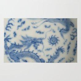 Damask vintage Monaco blue white girly ginger jar floral antique chinese dragon chinoiserie china Rug