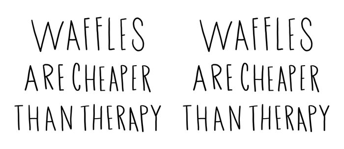 Waffles are cheaper than therapy - typography Coffee Mug