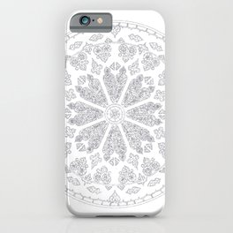 Ultimate Gray Outline Rose Window iPhone Case