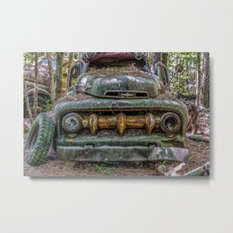 Green Pickup with Massive Grill Metal Print