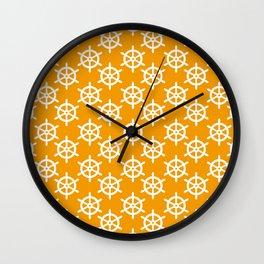 Ship Wheel (White & Orange Pattern) Wall Clock