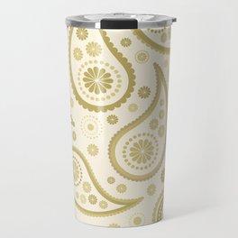 Paisley Funky Design Gold & Cream Travel Mug
