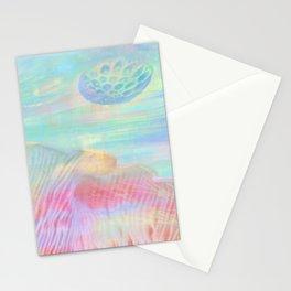 HOPSCOTCH SHRINE, a spaceship flying through a pastel art piece Stationery Cards