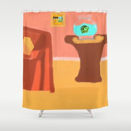 Fish and Living Room Scene Shower Curtain