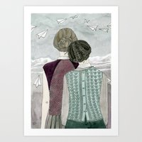 planes Art Prints featuring Paper Planes by Yuliya