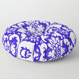 Paisley Damask Blue and White Floor Pillow