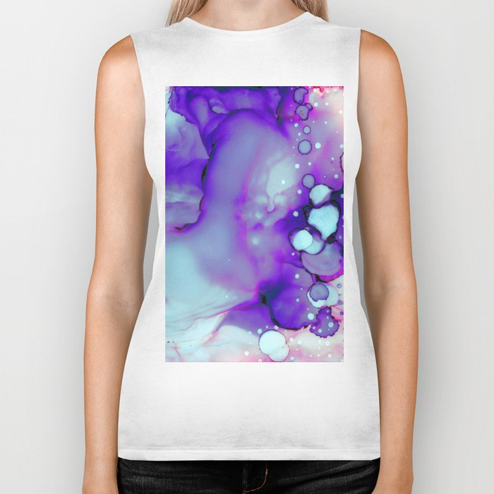 Becoming Abstract Painting in Amethyst Rose Biker Tank