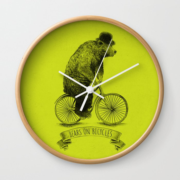 Bears on Bicycles (Lime) Wall Clock