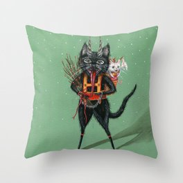 Krampus green background Throw Pillow