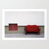 sofa Art Prints featuring Laughing Sofa  by Tina Kino