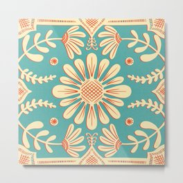 Boho Florals Cream Turquoise Metal Print