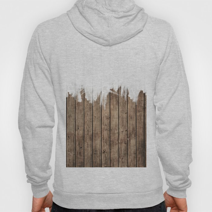 White Abstract Paint on Brown Rustic Striped Wood Hoody