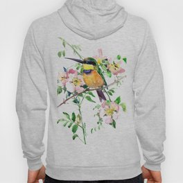 Bee-Eater and Rosehip, birds and flowers, bird art Hoody