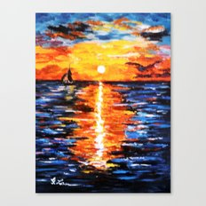 Title: Sunset Over The Sea Canvas Print
