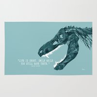 quotes Area & Throw Rugs featuring Tyrannosaurus Quotes  by Louise Heine