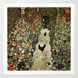 "Gustav Klimt ""Garden Path with Chickens"" Art Print"