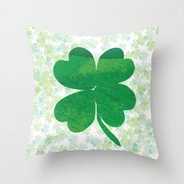 Lucky Watercolor Clovers Throw Pillow