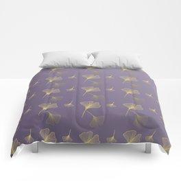 Ginkgo Purple Gold Comforters
