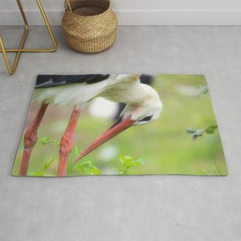 Portrait of a stork in summer Rug