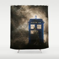 dr who Shower Curtains featuring Dr. Who by Redeemed Ink by - Kagan Masters