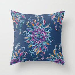 Deep Summer - Watercolor Floral Medallion Throw Pillow