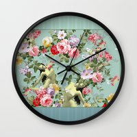 flora Wall Clocks featuring Flora by mentalembellisher