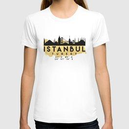 ISTANBUL TURKEY SILHOUETTE SKYLINE MAP ART T-shirt