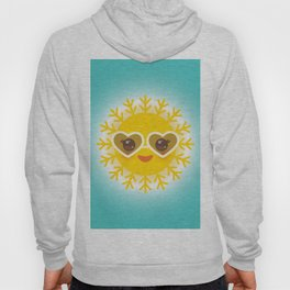 Kawaii funny sun with sunglasses pink cheeks and eyes. Hot summer day Hoody
