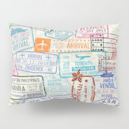 Vintage World Map with Passport Stamps Pillow Sham