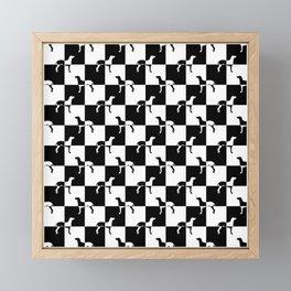 Black and White Checkerboard Weimaraner Framed Mini Art Print