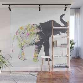 Floral Elephant Animal Print Wall Mural