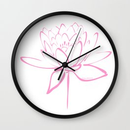 Lotus Blossom Calligraphy Pink Wall Clock