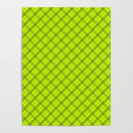 Slime Green and Black Halloween Tartan Check Plaid Poster