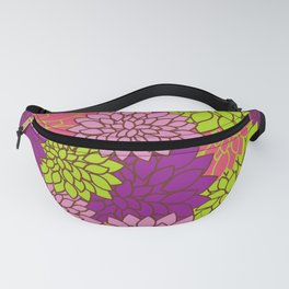 Dahlia Flowers, Blossoms - Pink Purple Green Fanny Pack