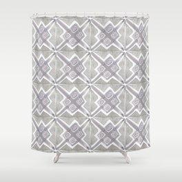 Gray Boho Watercolor Tiles Geometric Shower Curtain