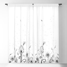 Floral Doodle Black and White Blackout Curtain