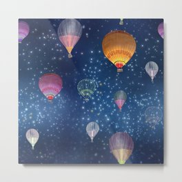 Hot air Balloons on a night sky pattern design Metal Print