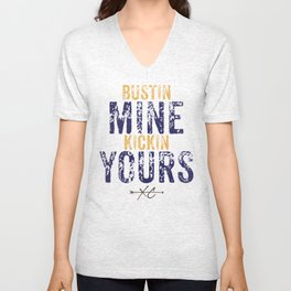 Purple & Gold: Bustin Mine, Kickin Yours Cross Country Unisex V-Neck