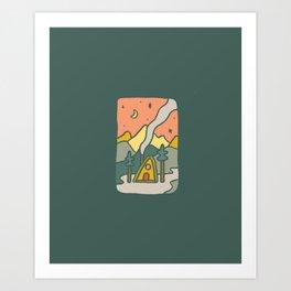 Moon Cabin Art Print