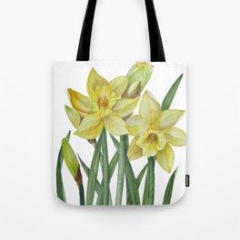 Watercolor Daffodils Botanical Illustration Tote Bag