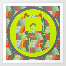 retro pattern and observatory 2 Art Print