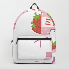 Japanese Milk Carton print Gift Strawberry milkshake product Backpack