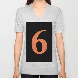 6 (CORAL & BLACK NUMBERS) Unisex V-Neck