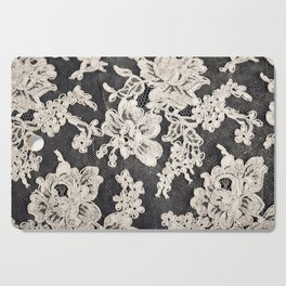 black and white lace- Photograph of vintage lace Cutting Board