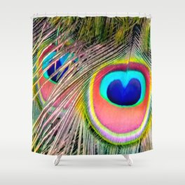 Peacock Tail Feathers Shower Curtain