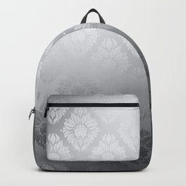 """Neutral gray Damask Pattern"" Backpack"